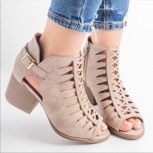 Shoes - Heather Taupe Peep Toe Booties